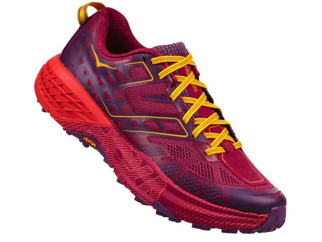 Hoka One One W's Speedgoat 2 Running Shoes Cherries Jubilee/Purple Pass
